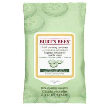 Lingettes nettoyantes pour le visage au concombre et à la sauge emballage de 10