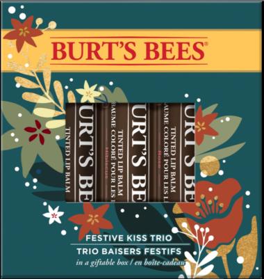 Festive Kiss Trio Holiday Gift Set, 100% Natural Origin, 3 Softly Tinted Lip Balms in Gift Box
