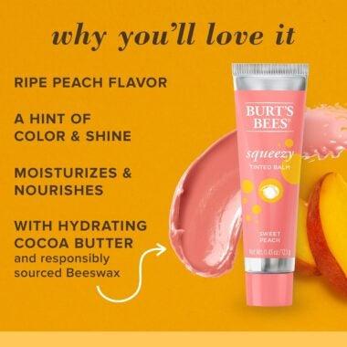 100% Natural Origin Squeezy Tinted Lip Balm Sweet Peach