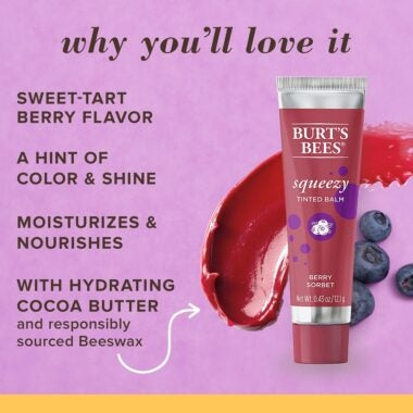 100% Natural Origin Squeezy Tinted Lip Balm Berry Sorbet