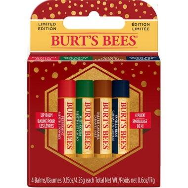 Holiday Lip Care Gift Set with 4 Sweet Seasonal Lip Balm